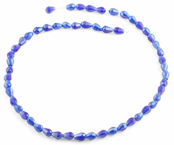5x7mm Navy Blue Drop Faceted Crystal Beads