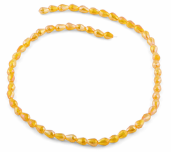 5x7mm Orange Drop Faceted Crystal Beads