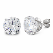 6 ct Sterling Silver Cz Stud Earrings 9mm