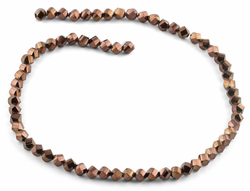 6mm Bronze Twist Faceted Crystal Beads
