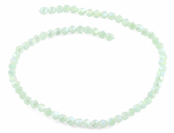 6mm Light Green Twist Faceted Crystal Beads