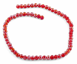 6mm Red Round Faceted Crystal Beads
