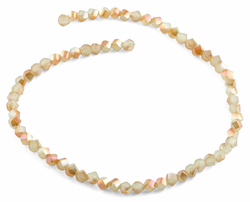 6mm Tan Twist Faceted Crystal Beads
