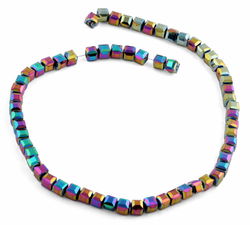 6X6mm Dark Rainbow Square Faceted Crystal Beads