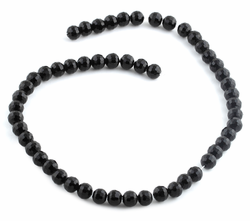 8mm Black Faceted Round Crystal Beads