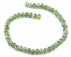 8mm Green Rondelle Faceted Crystal Beads