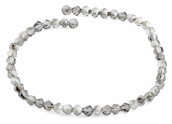 8mm Grey Twist Faceted Crystal Beads