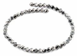 8mm Metal Grey Twist Faceted Crystal Beads