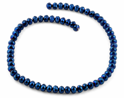 8mm Navy Blue Faceted Rondelle Crystal Beads