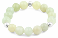 8mm Sterling Silver & 12mm New Jade Round Bead Bracelet