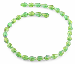 8x12mm Green Drop Faceted Crystal Beads