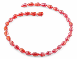 8x12mm Red Drop Faceted Crystal Beads
