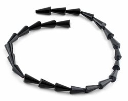 8x16mm Black Cone Faceted Crystal Beads