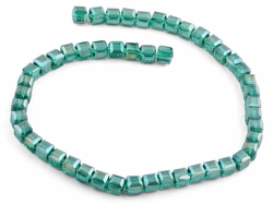 8x8mm Dark Green Square Faceted Crystal Beads