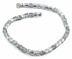 8x8mm Grey Square Faceted Crystal Beads