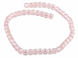 8x8mm Pink Square Faceted Crystal Beads