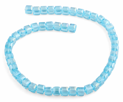 8x8mm Teal Square Faceted Crystal Beads