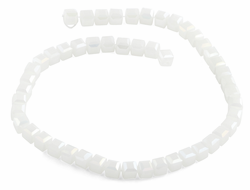 8x8mm White Square Faceted Crystal Beads