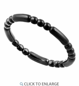 Black Rhodium Plated Stackable Bead and Bar Ring