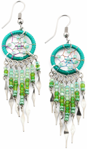 Stainless Steel Dreamcatcher Green Beaded Dangle Earrings