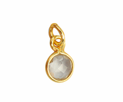 Gold Plated over Silver Bezel Pendant Clear Quartz Round 6mm - PACK OF 4