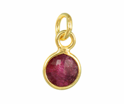 Gold Plated over Silver Bezel Pendant Dyed Ruby Round 6mm - PACK OF 4