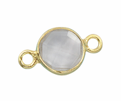 Gold Plated over Silver Bezelled Connector Clear Quartz Round 6mm - PACK OF 4