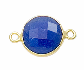 Gold Plated over Silver Bezelled Connector Dyed Blue Sapphire Round 11mm