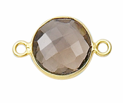 Gold Plated over Silver Bezelled Connector Smokey Quartz Round 11mm