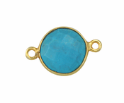 Gold Plated over Silver Bezelled Connector Turquoise Rnd 11mm