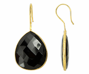 Gold Plated over Silver Bezelled Earrings Black Onyx  Pear 24 x 20mm