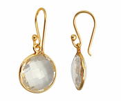 Gold Plated over Silver Bezelled Earrings Clear Quartz Round 16mm