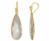 Gold Plated over Silver Bezelled Earrings Clear Quartz Teardrop 16 x 37mm