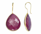 Gold Plated over Silver Bezelled Earrings Dyed Ruby Pear 24 x 20mm