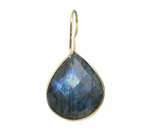Gold Plated over Silver Bezelled Earrings Labradorite Pear 24 x 20mm
