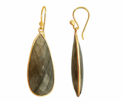 Gold Plated over Silver Bezelled Earrings Labradorite Teardrop 16 x 37mm