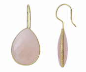 Gold Plated over Silver Bezelled Earrings Pink Onyx  Pear 24 x 20mm