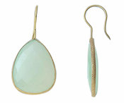 Gold Plated over Silver Bezelled Earrings Sea Green Chalcedony Pear 24 x 20mm