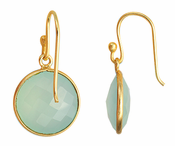 Gold Plated over Silver Bezelled Earrings Sea Green Chalcedony Round 16mm