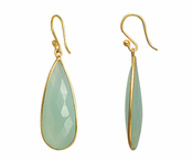 Gold Plated over Silver Bezelled Earrings Sea Green Chalcedony Teardrop 16 x 37mm