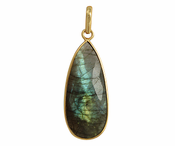 Gold Plated over Silver Bezelled Pendant Labradorite Teardrop 16 x 37mm