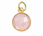 Gold Plated over Silver Bezelled Pendant Rose Quartz Round 11mm