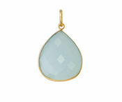 Gold Plated over Silver Bezelled Pendant Sea Green Chalcedony Pear 30 x 22mm