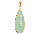 Gold Plated over Silver Bezelled Pendant Sea Green Chalcedony Teardrop 16 x 37mm