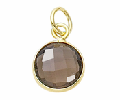 Gold Plated over Silver Bezelled Pendant Smokey Quartz Round 11mm