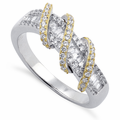 Sterling Silver Gold Plated Exotic Twisted CZ Ring