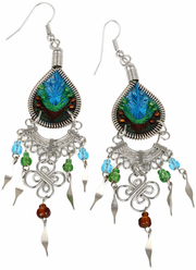 Stainless Steel Peruvian Blue, Green, Brown Silk Thread Beaded Dangle Earrings
