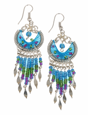 Stainless Steel Peruvian Blue Silk Thread Beaded Crescent Dangle Earrings