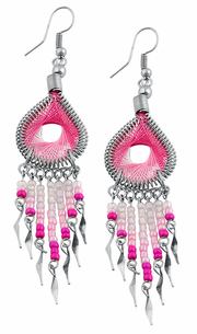 Stainless Steel Peruvian Pink Silk Thread Beaded Dangle Earrings
