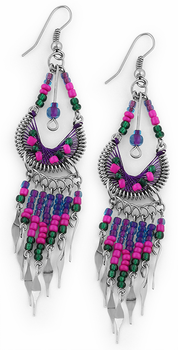 Stainless Steel Peruvian Purple Silk Thread Beaded Dangle Earrings